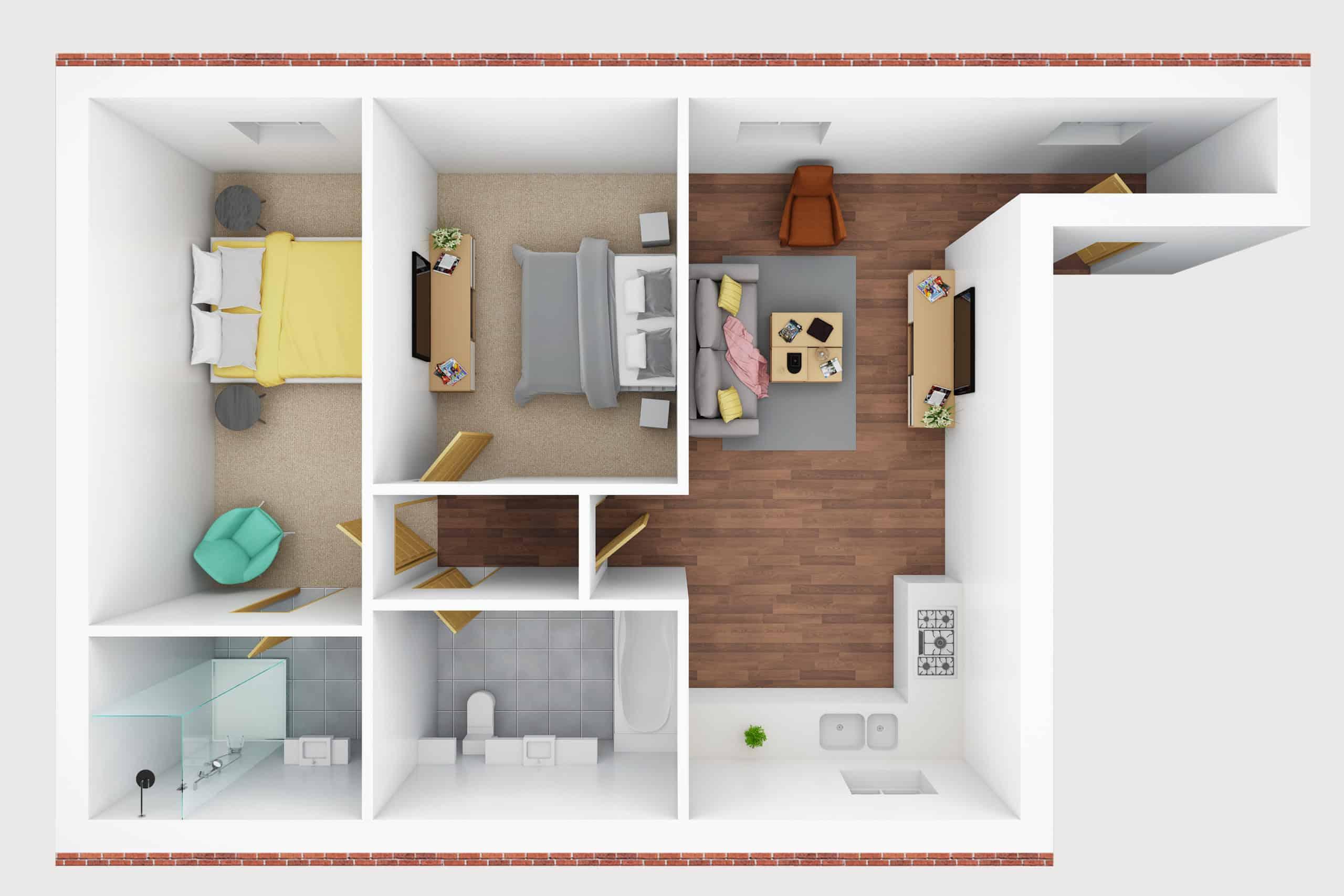 3D floor plan- G