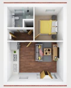 3D floor plan- H