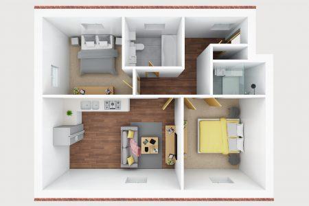 3D floor plan- E