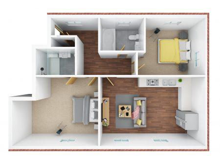 3D floor plan- No 35 & 37